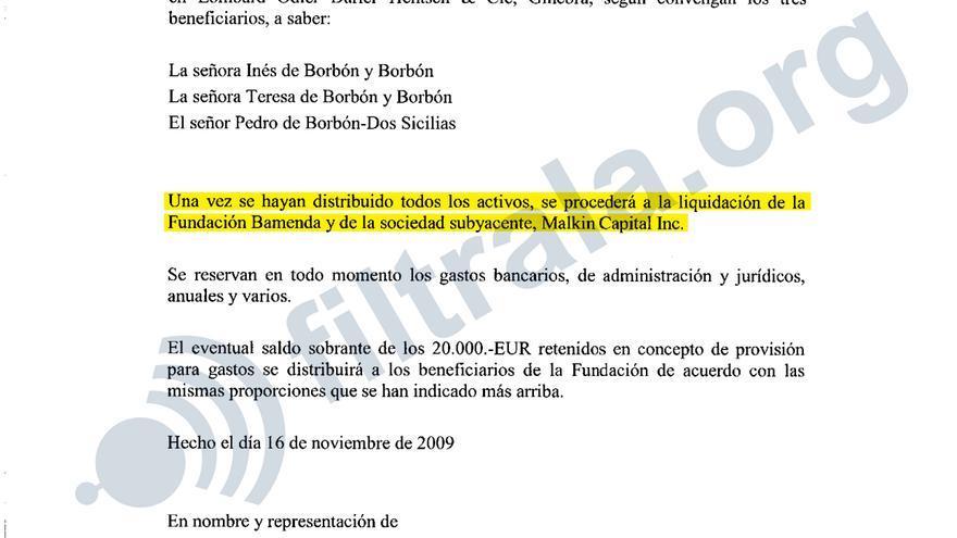 Acuerdo de distribución de los activos de la fundación Bamenda, radicada en Panamá