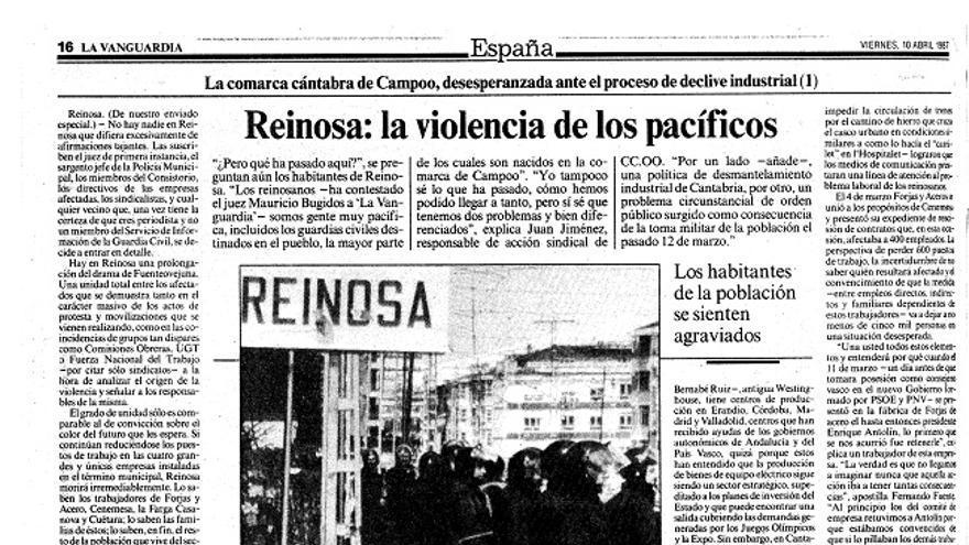 Página del periódico La Vanguardia del 10 de abril de 1987.