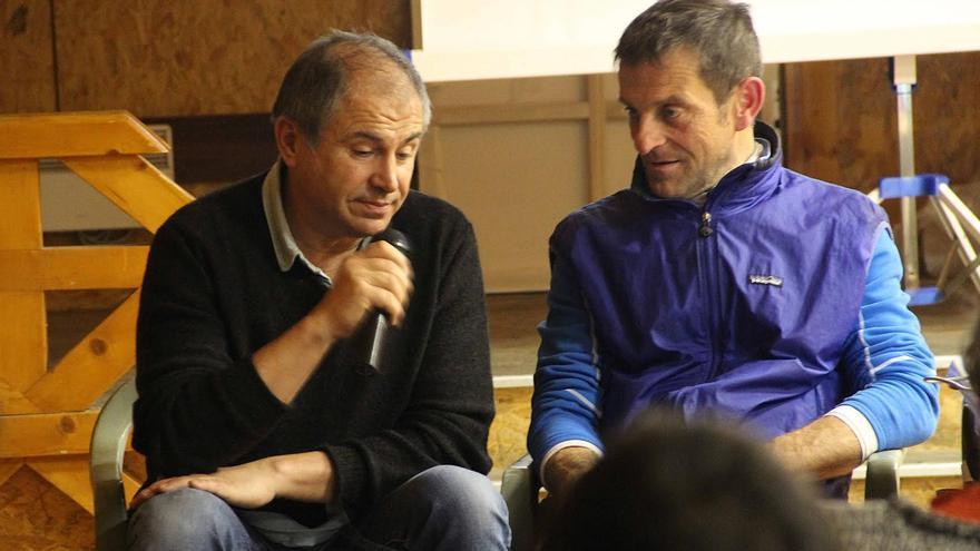 Dominique Julien y Jean Carles Griso durante la Reunión Invernal del GAME celebrada en Gavarnie.