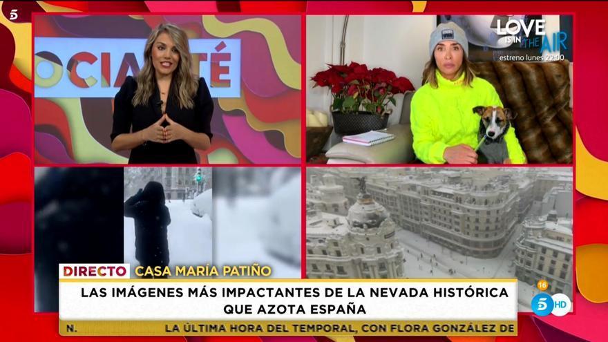 María Patiño, atrapada por la nieve, presenta el 'Socialité' más épico desde casa y con su perro
