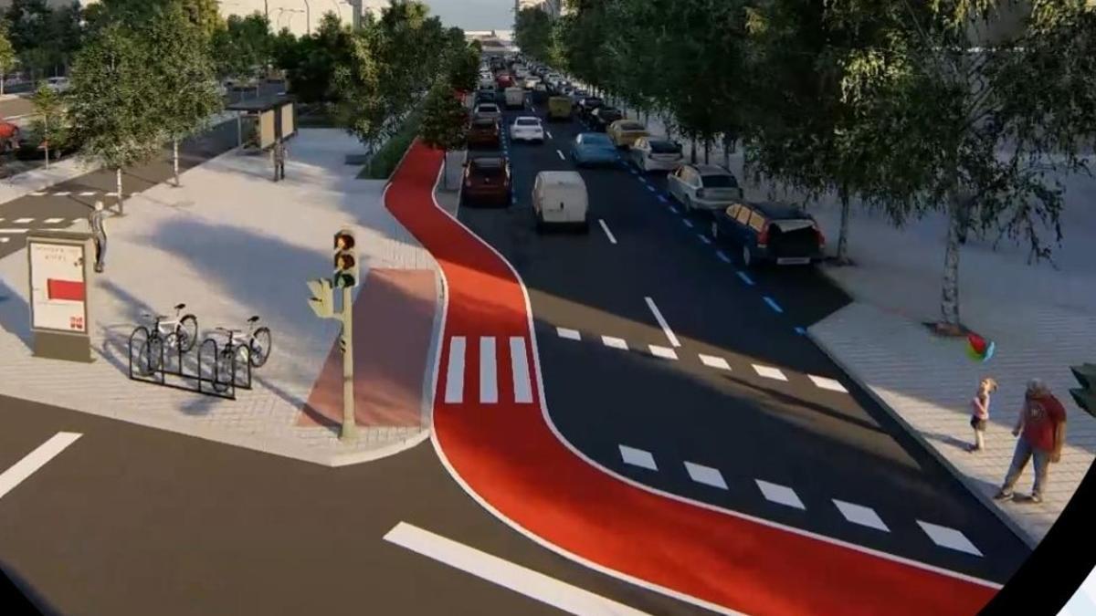 Recreación del futuro carril bici en la Castellana