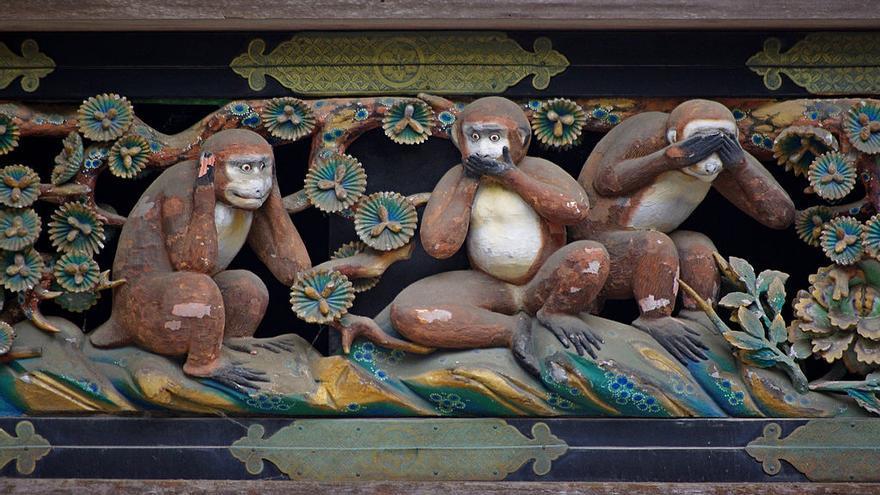 Los tres monos sabios, en el santuario de Toshogu.