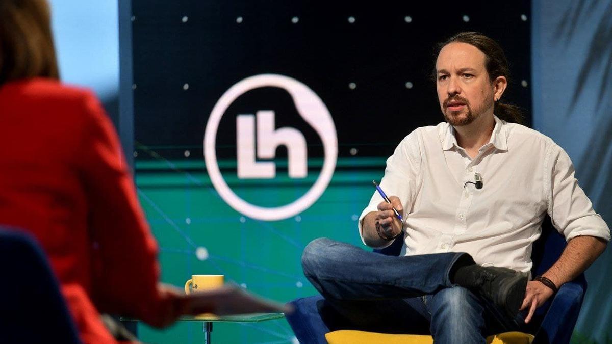 El candidato de Unidas Podemos el 4M, Pablo Iglesias, durante una entrevista este viernes en TVE.