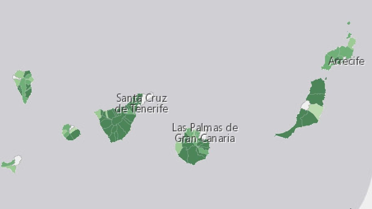 Porcentaje de casos por población en Canarias