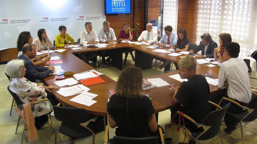 Reunión del Grupo Parlamentario Socialista liderada por Ángel Víctor Torres