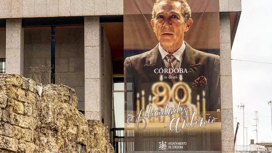 Lona diseñada por Braulio Valderas que luce en la fachada del Ayuntamiento.