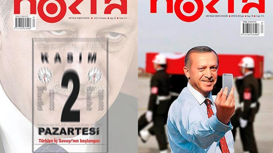 Portadas de Nokta por las que Cevheri Güven pasó dos meses en prisión. A la izquierda, la portada bajo el titular '2 de noviembre: inicio de la guerra civil turca'. A la derecha, el último número de la revista antes de su cierre en la que aparece un montaje de Erdogan haciéndose un selfie durante el funeral de un soldado.
