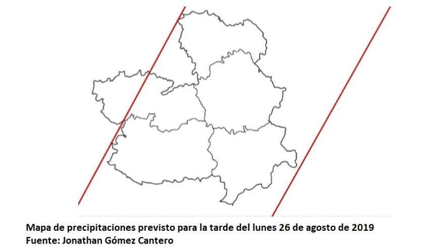 Mapa con la localización de las precipitaciones en la tarde del 26 de agosto