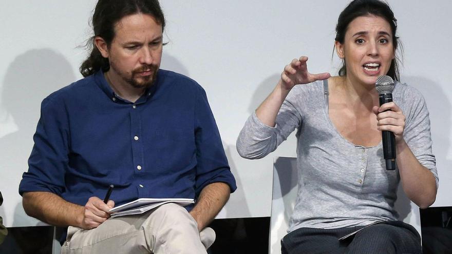 Pablo Iglesias e Irene Montero, en un acto de Podemos.