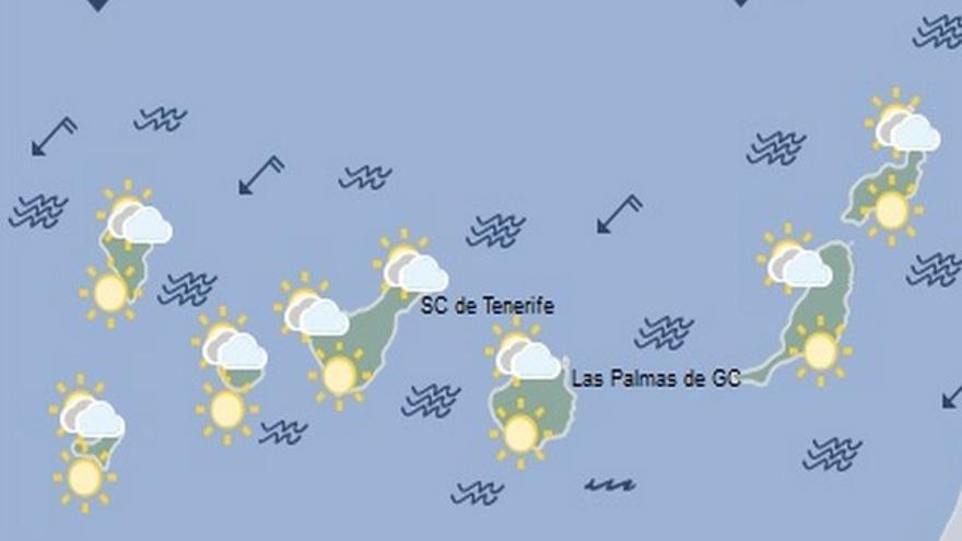 Mapa de la previsión meteorológica en Canarias