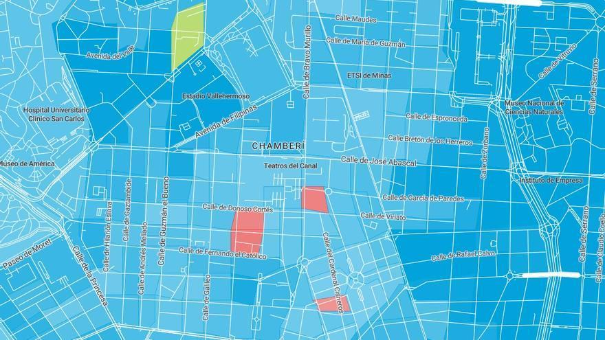 Mapa con los colores de los partidos más votado en cada circunscripción electoral de Chamberí el 10N, con el azul del PP predominante