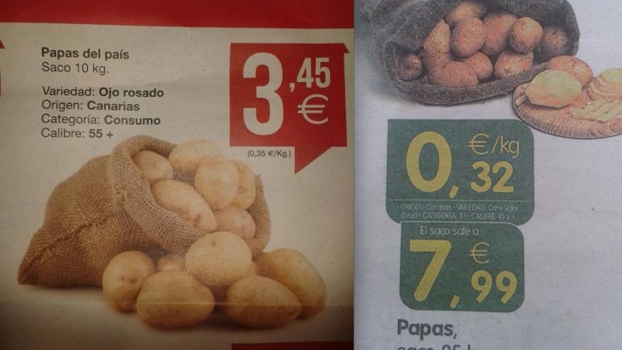 Guerra de precios de las papas en dos supermercados canarios.