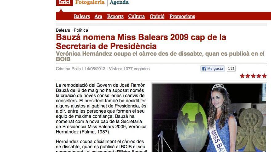 Información sobre el nombramiento de Miss Baleares 2009 en dBalears.cat.