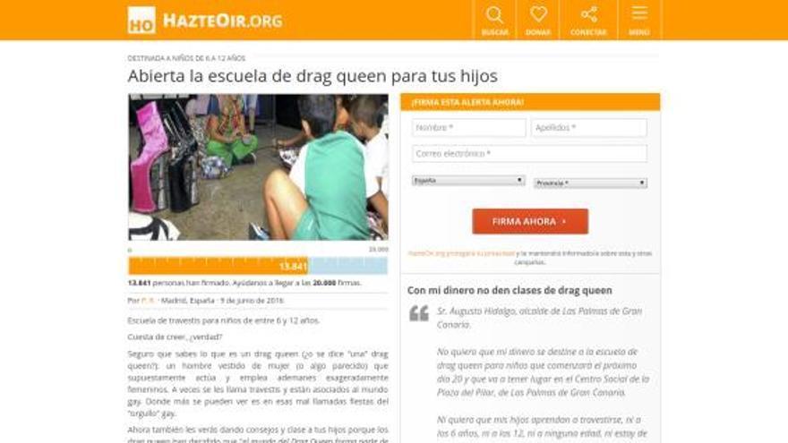Petición en HazteOir.org contra la escuela Drag Queen de Las Palmas de Gran Canaria