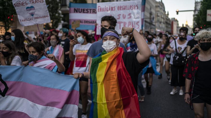 Un joven con la bandera LGTBI sujeta la pancarta de cabecera de la manifestación del Orgullo Crítico.