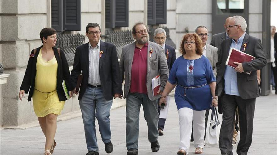 Los diputados de La Izquierda Plural, en el patio del Congreso