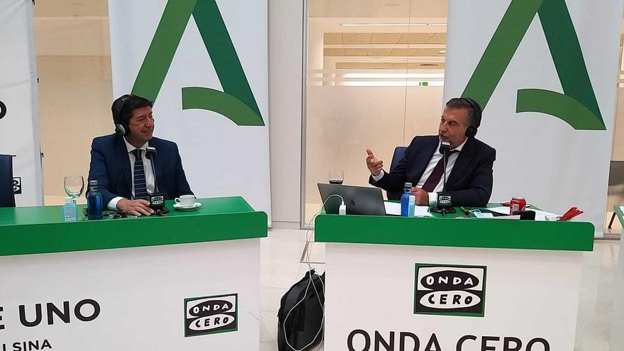 El vicepresidente de la Junta y consejero, Juan Marín, este martes durante su entrevista en Onda Cero con Carlos Alsina.
