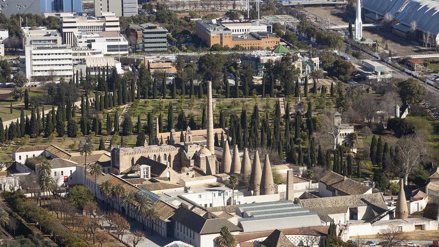 Vista aérea del Monasterio de la Cartuja, donde se distinguen los hornos de cerámica