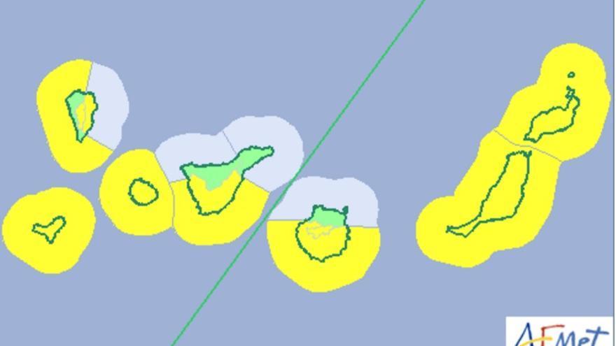 Mapa de la Aemet del aviso de riesgo por viento y oleaje para este sábado, 1 de julio de 2017.