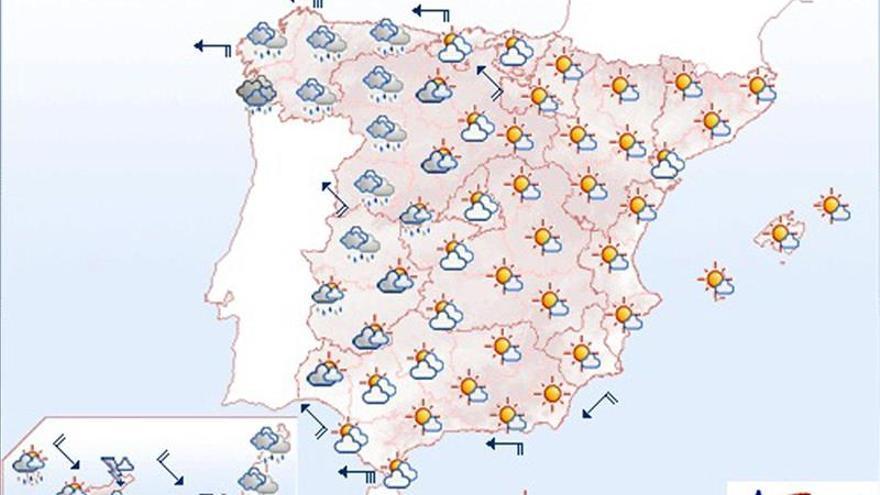 Mañana lluvias en el oeste peninsular que serán fuertes en Canarias
