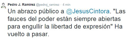 Mediaset destituye a Jesús Cintora como presentador de 'Las mañanas de Cuatro' Pedro-j-tweet