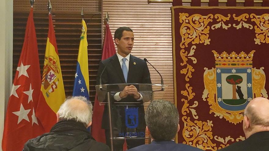 Juan Guaidó durante su comparecencia en el Ayuntamiento de Madrid