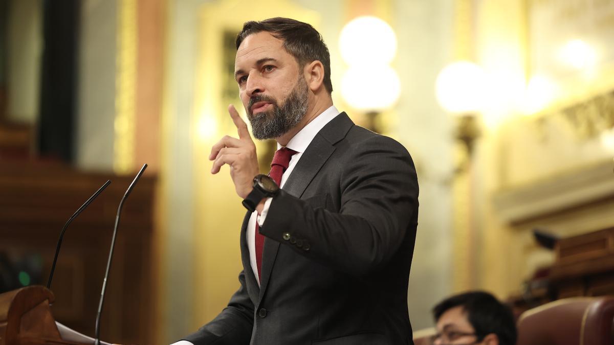 Santiago Abascal en el pleno de la moción de censura contra Pedro Sánchez