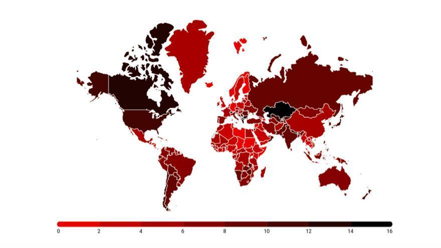Porcentaje de pérdida de PIB per cápita en 2100 sin ningún tipo de política contra el cambio climático.