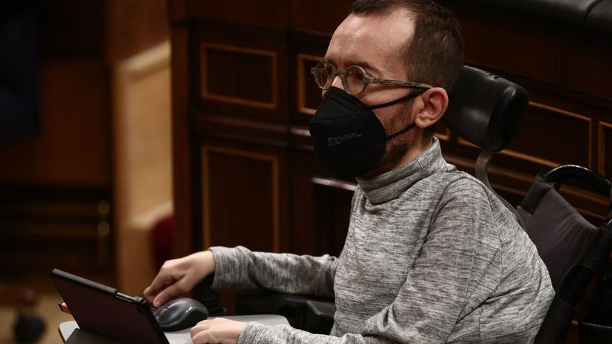Archivo - El portavoz parlamentario de Unidas Podemos, Pablo Echenique, durante una sesión plenaria celebrada en el Congreso de los Diputados, en Madrid, (España), a 4 de febrero de 2021.