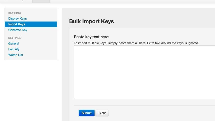 Mailvelope - Import key