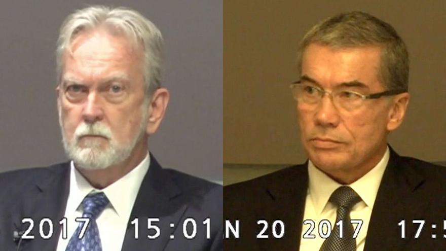 Los psicólogos James E. Mitchell (I) y John 'Bruce' Jessen (D) durante su declaración a puerta cerrada en la demanda interpuesta por tres detenidos acusados de terrorismo