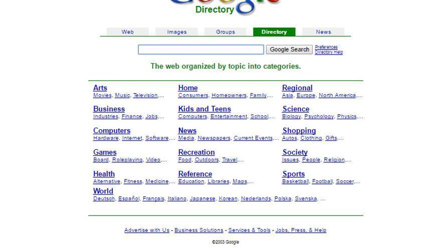 El directorio de Google usaba los datos del Open Directory Project