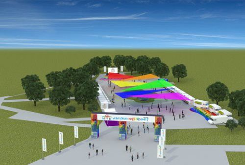 Recreación virtual del Pride Village en Madrid Río