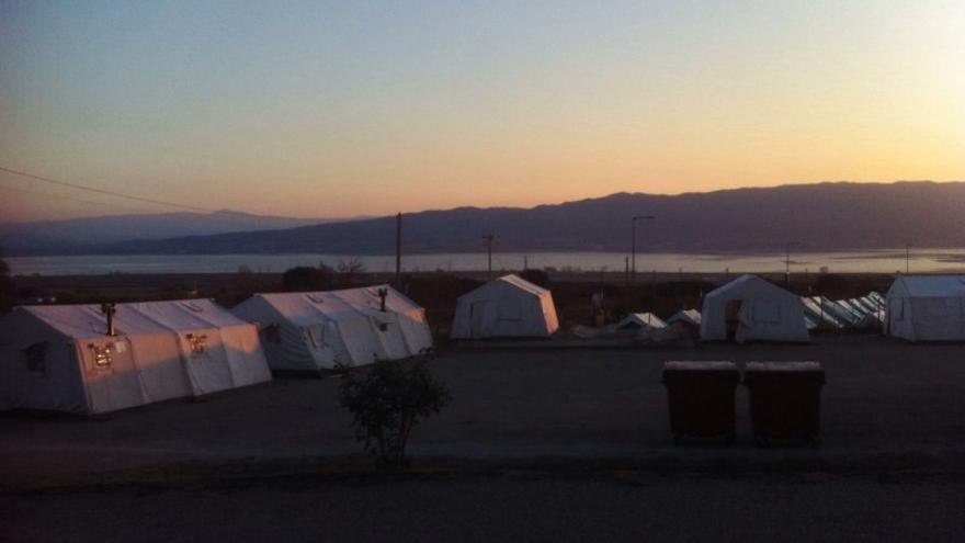 Una vista del campamento de Vagioxori