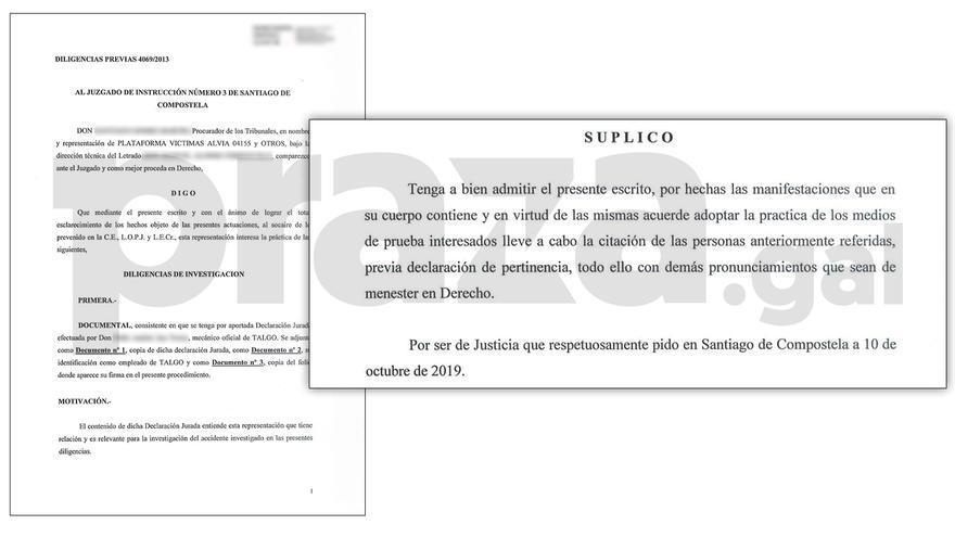 Fragmentos del escrito entregado por víctimas del Alvia al juzgado este 10 de octubre de 2019
