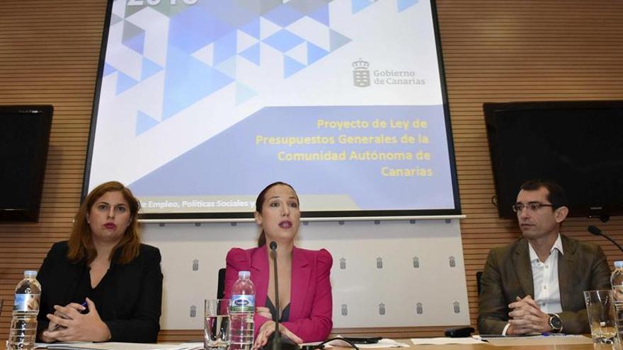La vicepresidenta del Gobierno de Canarias, Patricia Hernández (c), preside una reunión del Consejo General de Servicios Sociales
