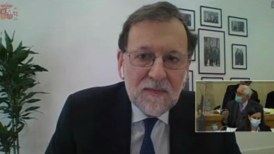 Mariano Rajoy en su declaración como testigo en el juicio por videoconferencia.