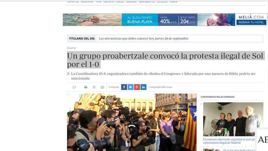 Pantallazo de la información de 'Abc' que vincula a Garzón e IU con ETA.