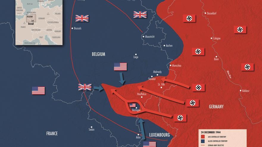 Situación de la Batalla de las Ardenas en la Nochebuena de 1944. Fuente: The National WWII Museum (https://www.ww2classroom.org/node/185).