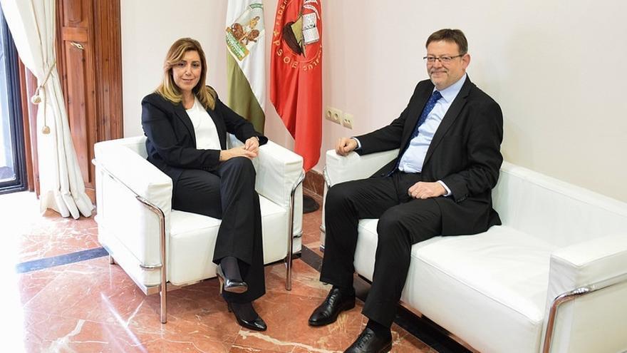 El líder del PSPV, Ximo Puig, junto a Susana Díaz