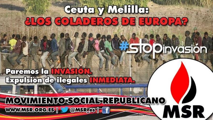 Cartel de Movimiento Social Republicano sobre la inmigración en Ceuta y Melilla.