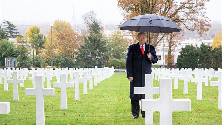 El presidente Donald Trump en la ceremonia por el centenario de la Primera Guerra Mundial.