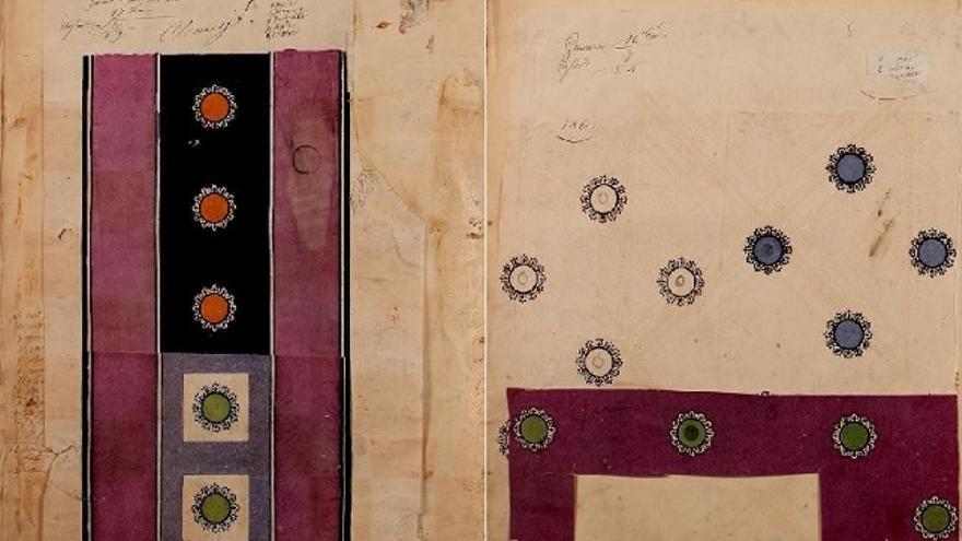 Cuaderno francés de diseños textiles. By Victor Ducroquet, 1863, París