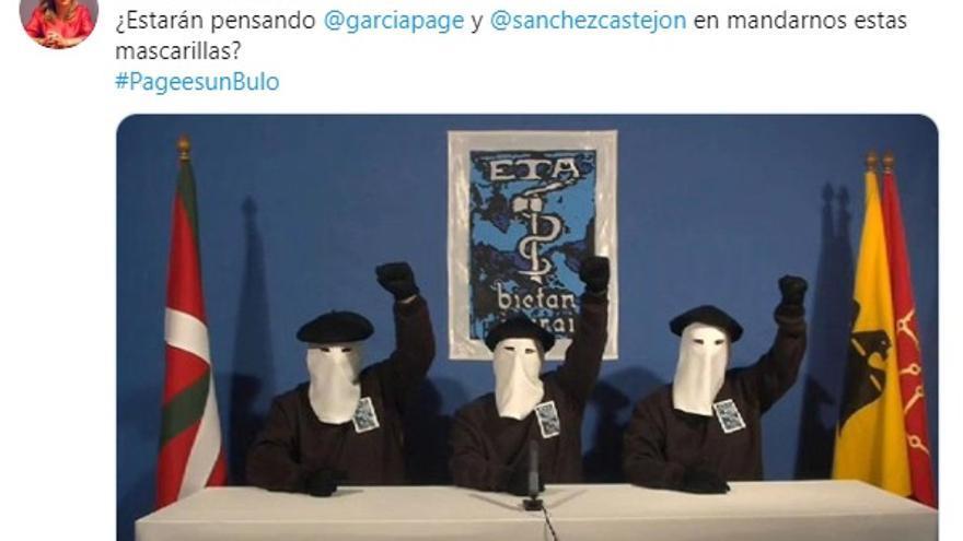 Tuit publicado por la diputada del PP de Castilla-La Mancha, Lola Merino