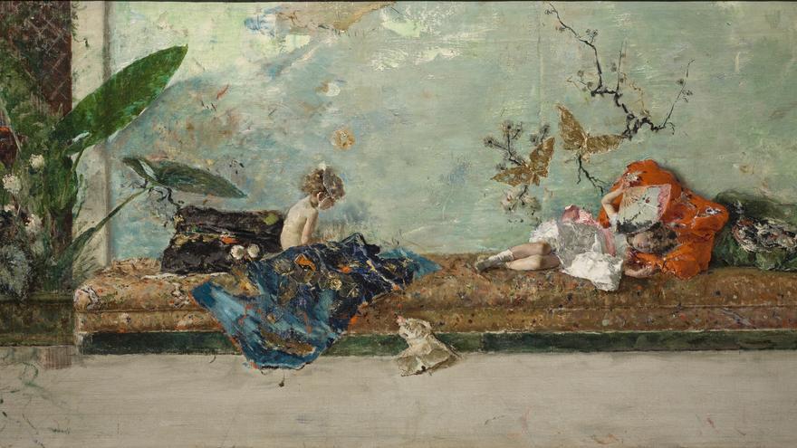 Los hijos del pintor en el salón japonés (Mariano Fortuny)
