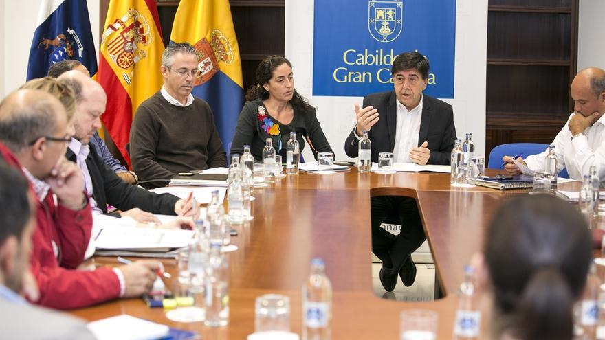 El consejero de Empleo del Cabildo de Gran Canaria, Gilberto Díaz Jiménez en un acto con medios de comunicación