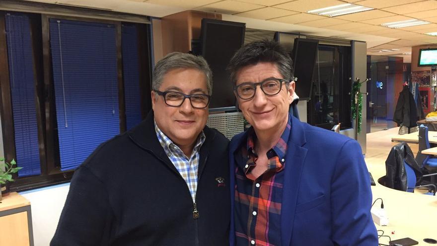 Brotons y Rivero antes de la emisión de 'Estudio Estadio'