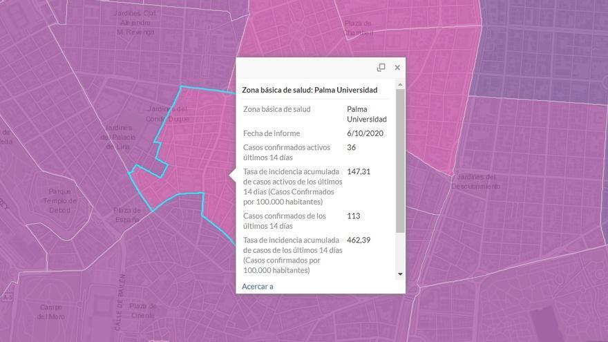 Incidencia de Covid-19 en Malasaña, a 6 de octubre   COMUNIDAD DE MADRID