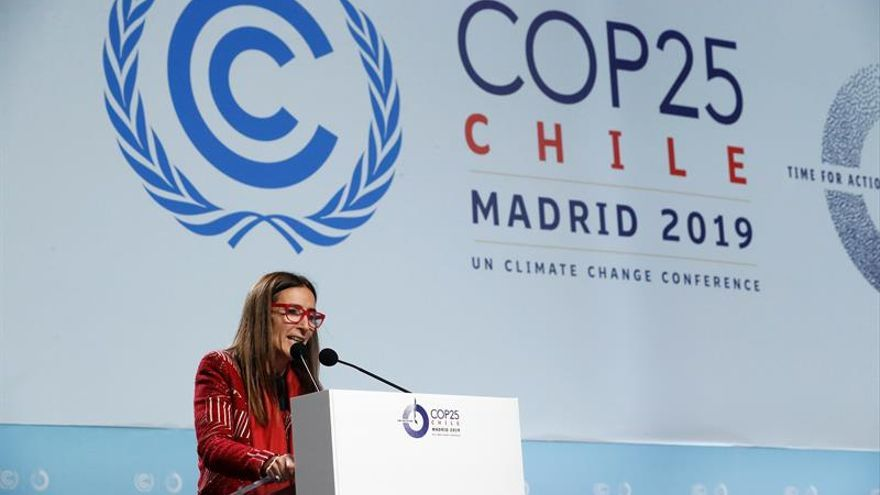 La chilena Carolina Schmidt, presidenta de la COP25, durante la comparecencia en la Cumbre del Clima de Madrid (COP25).