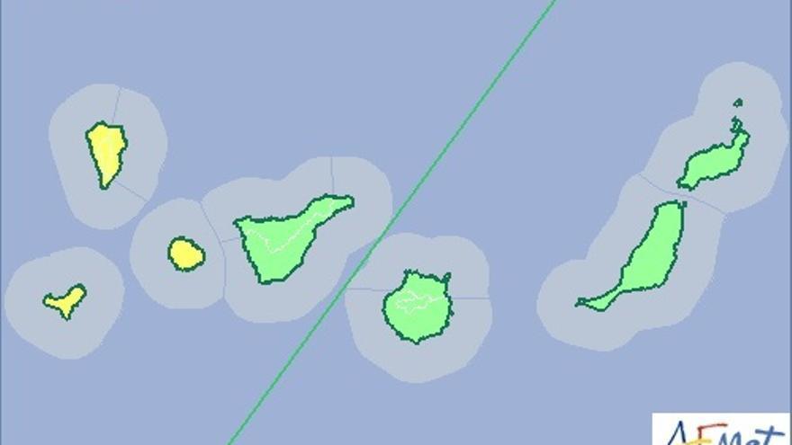 Mapa de la Aemet  de aviso de riesgo por lluvias y tormentas para el martes, 18 de noviembre.